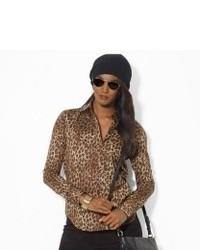 Светло-коричневая блузка с длинным рукавом с леопардовым принтом