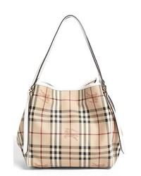 Светло-коричневая большая сумка из плотной ткани в шотландскую клетку