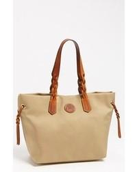 Светло-коричневая большая сумка из плотной ткани