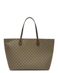 Светло-коричневая большая сумка из плотной ткани от Gucci