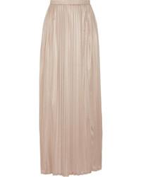 Светло-коричневая длинная юбка со складками