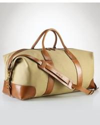 Светло-коричневая дорожная сумка из плотной ткани