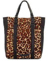 Светло-коричневая замшевая большая сумка с леопардовым принтом