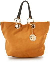 Светло-коричневая замшевая большая сумка