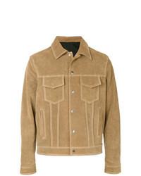 Светло-коричневая замшевая куртка-рубашка
