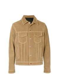 Мужская светло-коричневая замшевая куртка-рубашка от AMI Alexandre Mattiussi