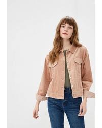 Женская светло-коричневая замшевая куртка-рубашка от Befree
