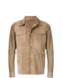 Мужская светло-коричневая замшевая куртка-рубашка от Eleventy