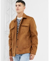 Мужская светло-коричневая замшевая куртка-рубашка от Farah