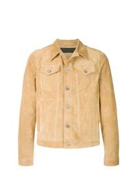 Мужская светло-коричневая замшевая куртка-рубашка от JW Anderson