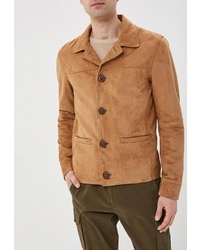Мужская светло-коричневая замшевая куртка-рубашка от Oakwood