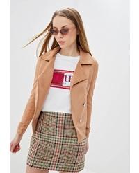 Женская светло-коричневая замшевая куртка-рубашка от River Island