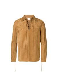 Мужская светло-коричневая замшевая куртка-рубашка от Saint Laurent