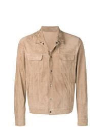 Мужская светло-коричневая замшевая куртка-рубашка от Salvatore Santoro