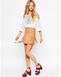 Светло-коричневая замшевая мини-юбка