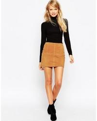 Светло-коричневая замшевая мини-юбка от Asos