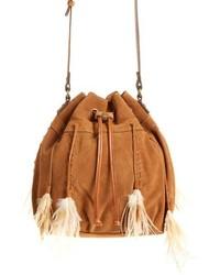 Светло-коричневая замшевая сумка-мешок c бахромой
