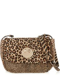 Светло-коричневая замшевая сумка через плечо с леопардовым принтом от Hill & Friends