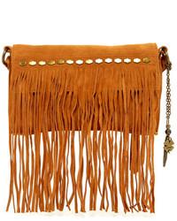 Светло-коричневая замшевая сумка через плечо