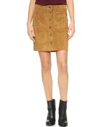 Светло-коричневая замшевая юбка на пуговицах