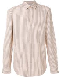 Светло-коричневая классическая рубашка в вертикальную полоску