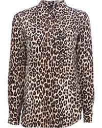 Светло-коричневая классическая рубашка с леопардовым принтом