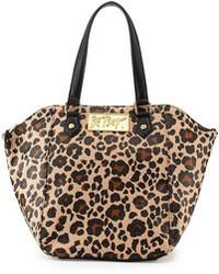 Светло-коричневая кожаная большая сумка с леопардовым принтом
