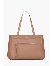 Светло-коричневая кожаная большая сумка от Fiorelli