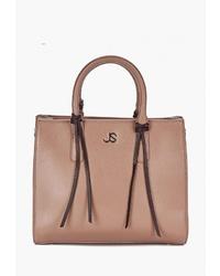 Светло-коричневая кожаная большая сумка от Jane's Story