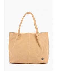 Светло-коричневая кожаная большая сумка от Laccoma