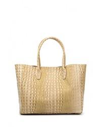 Женская светло-коричневая кожаная большая сумка от Moronero