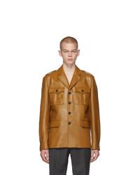 Светло-коричневая кожаная полевая куртка от Prada