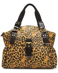 Светло-коричневая кожаная сумка-саквояж с леопардовым принтом