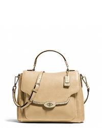 Светло-коричневая кожаная сумка-саквояж