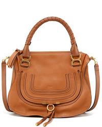 Женская светло-коричневая кожаная сумка-саквояж от Chloé