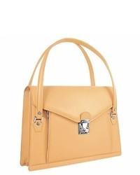 Женская светло-коричневая кожаная сумка-саквояж от L.a.p.a.