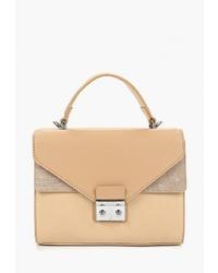 Светло-коричневая кожаная сумка-саквояж от Orella