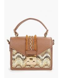 Светло-коричневая кожаная сумка-саквояж от Ors Oro