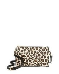 Светло-коричневая кожаная сумка через плечо с леопардовым принтом