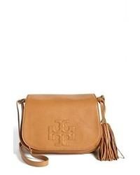 Светло-коричневая кожаная сумка через плечо