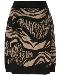 Светло-коричневая короткая юбка-солнце с леопардовым принтом