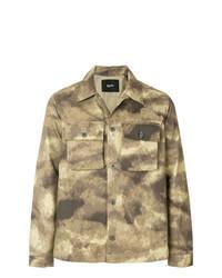 Светло-коричневая куртка-рубашка с камуфляжным принтом