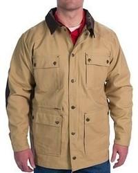 Светло-коричневая куртка с воротником и на пуговицах
