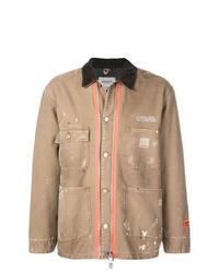 Светло-коричневая куртка с воротником и на пуговицах от Heron Preston