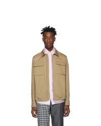 Светло-коричневая куртка харрингтон от Moncler