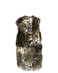 Женская светло-коричневая меховая безрукавка с леопардовым принтом от Stella McCartney