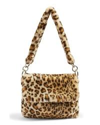Светло-коричневая меховая большая сумка с леопардовым принтом