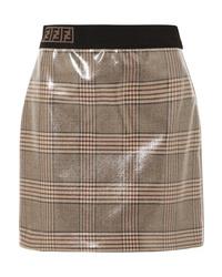Светло-коричневая мини-юбка в клетку от Fendi