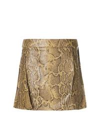 Светло-коричневая мини-юбка со змеиным рисунком от Chloé