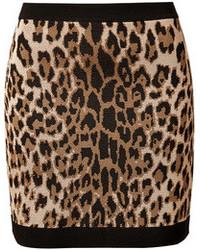 Светло-коричневая мини-юбка с леопардовым принтом